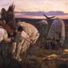騎士と墓石