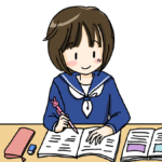 勉強する女子生徒